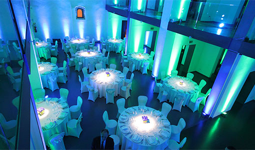 set up corporate event gala dinner service audio lights video