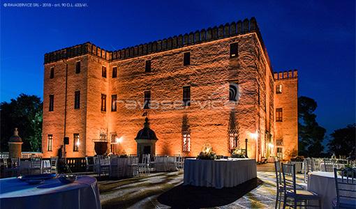 castello del catajo esterno ricevimento illuminazioni scenografiche party light design
