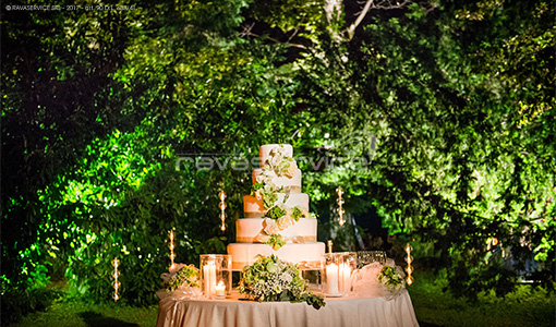 villa foscarini tra illuminazione wedding cake