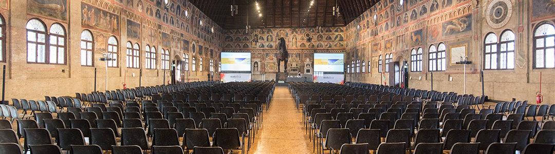 Audio video lighting set-up for congress at Palazzo della Ragione