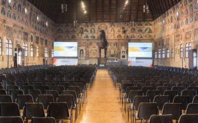 Audio video lighting set-up for congress at Palazzo della Ragione