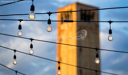 event locanda cipriani wedding reception lightning string lights