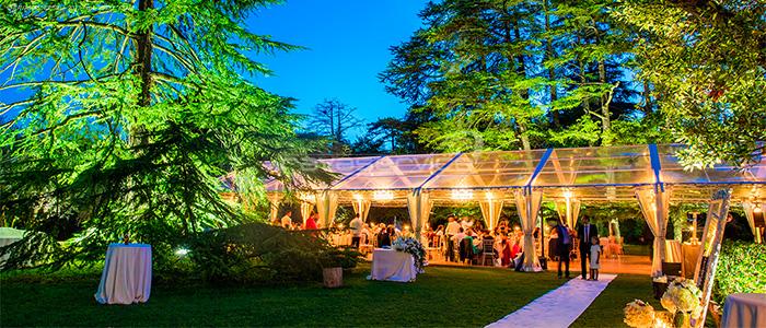 Isola del Garda, cene di gala, matrimoni, party privati, luce, illuminazione, Light Design